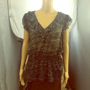 NWT MILEY Cyrus Animal Print Blouse Black and Gray